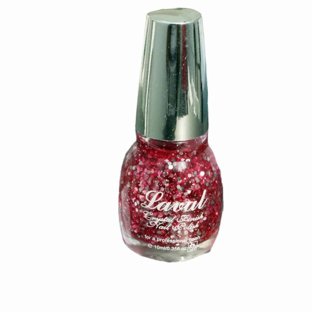 Laval Crystal Finish Nail Polish Pink Glitter